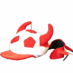 Fun Hat>Soccer Red+Wht