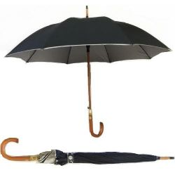"""Umbrella>Plain Black Sil. Trim 23"""" Auto"""