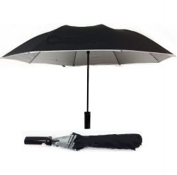Umbrella>plain Black Sil. Trim 2 Fold Auto