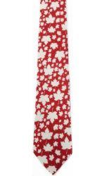 CDA Necktie>White Leaf on Red
