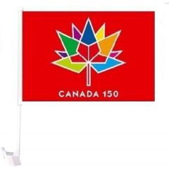 CDA Car Flag XH>Canada 150 Red