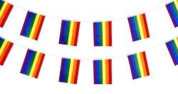 """Bunting>Rainbow (32 flags of 12""""x18"""")"""